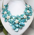 "Wholesale Free P&P*white pearl blue mother of pearl shell 7 flower handmade necklace 18"" Jewelry"