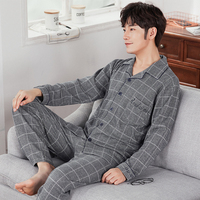 J&Q New Male Pijamas Cardigan Trendy Cotton Pyjamas For Men Lapel Long Sleeves Plaid Men Winter Sleepwear Plus Size Male Pajamas
