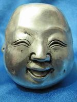 China tibet silver carved four face buddha head pendant