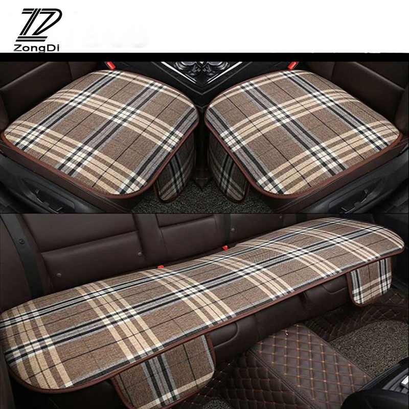 ZD For Alfa Romeo 159 BMW E46 E39 E36 E90 Audi A3 A6 C5 A4 B6 B8 Linen Grid Car Accessories Seat Pad Covers Non-slip Mat Cushion