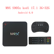 Nueva red set-top box amlogic S905x kodi M9X 17.1 3G + 32G 4 K Android 6.0 red ultra claro reproductor smart tv caja androide de la tv caja