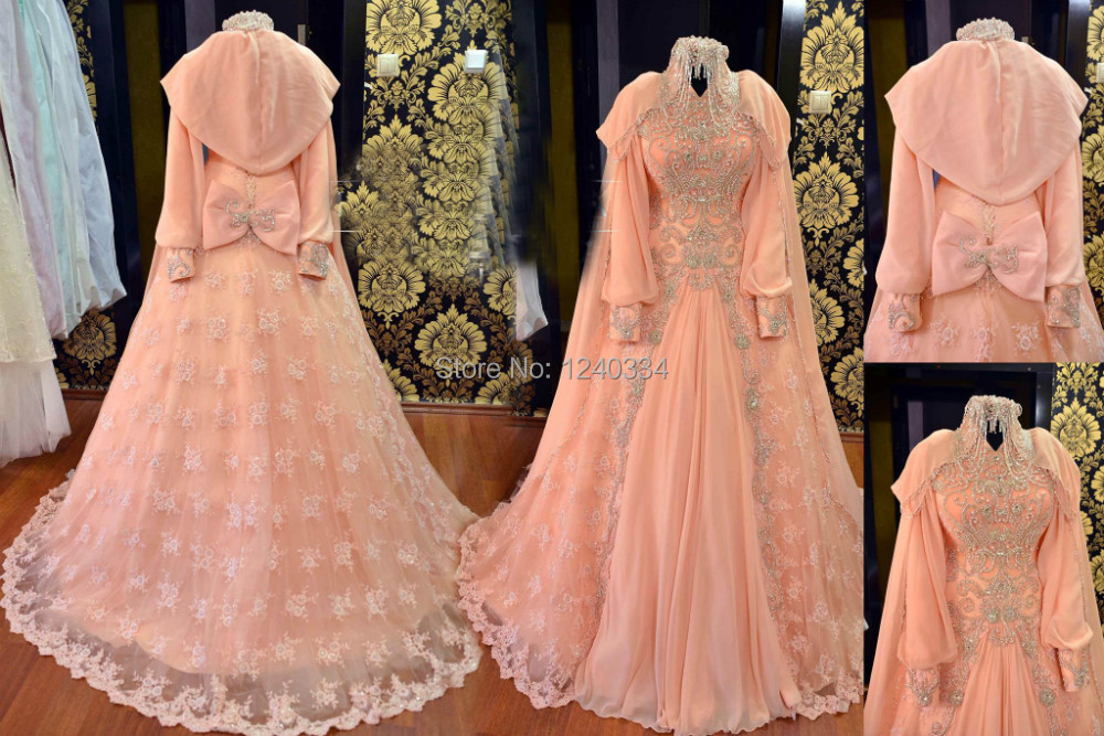 1403153 peach muslim hijab wedding dress-in Wedding Dresses from ...