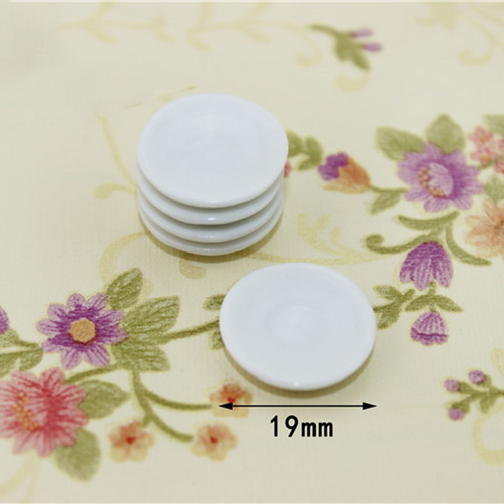 5Pcs 1/12 Dollhouse Miniature Accessories Mini Ceramic Cake Plate Simulation Furniture Dish Model Toys For Doll House Decor