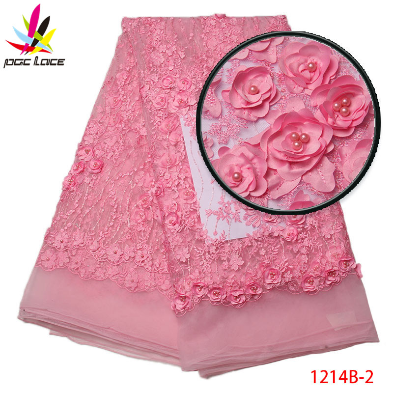 2017 Pretty flower lace fabric with beads embroidery french tulle lace  fabric 3D lace applique fabrics For Party AMY1214B 1 Tags  4adeac0f259e