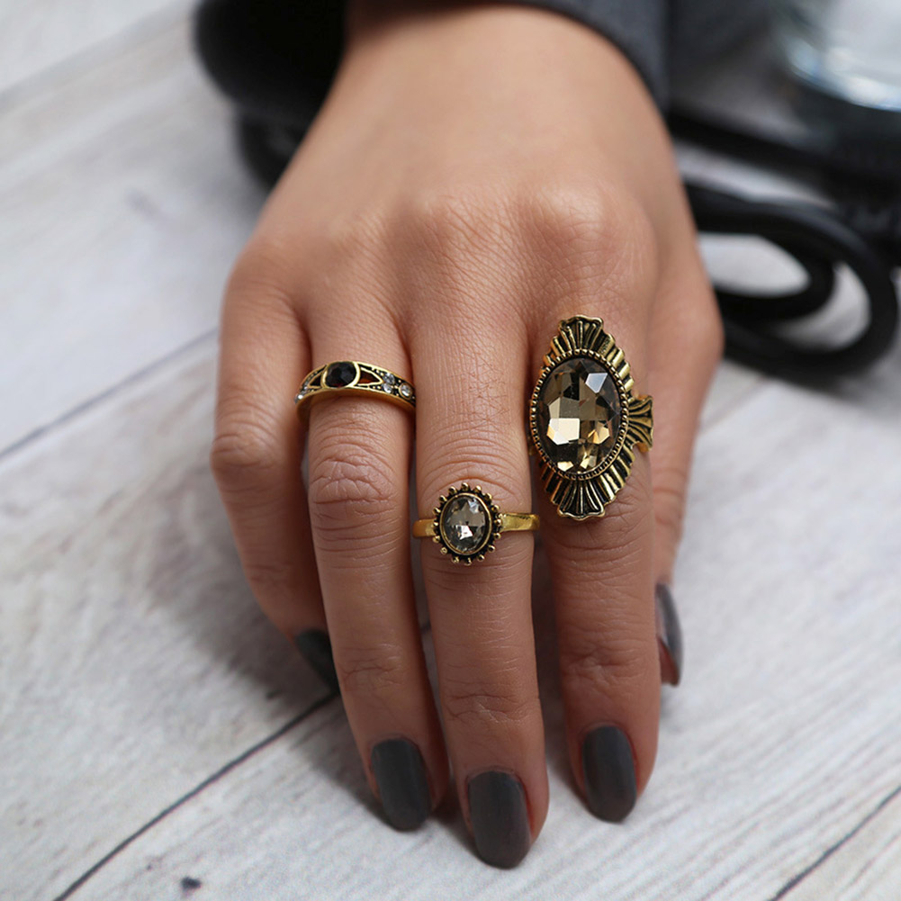 3pcs/set Women Girls Antique Bronze Color Oval Crystal Rhinestone Rings Flower Carved Rings