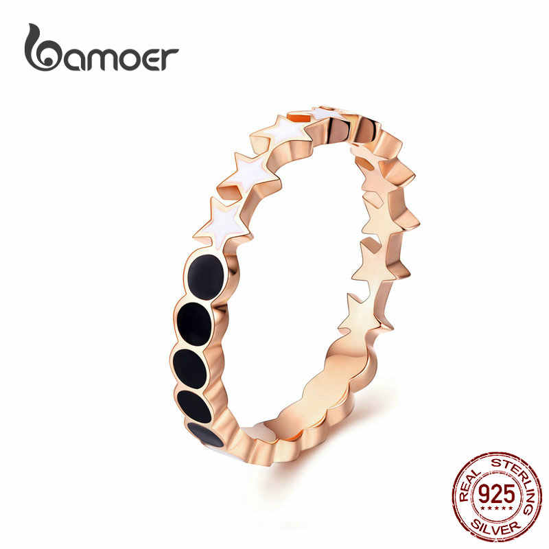 BAMOER Moon and Star Rings for Women Black and White Enamel Stackable Finger Ring 925 Sterling Silver Fine Jewelry SCR526