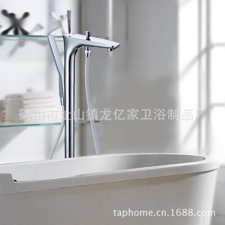 Floor bathtub faucet hot and cold high-grade gold-plated copper bathtub faucet full bathtub shower faucet