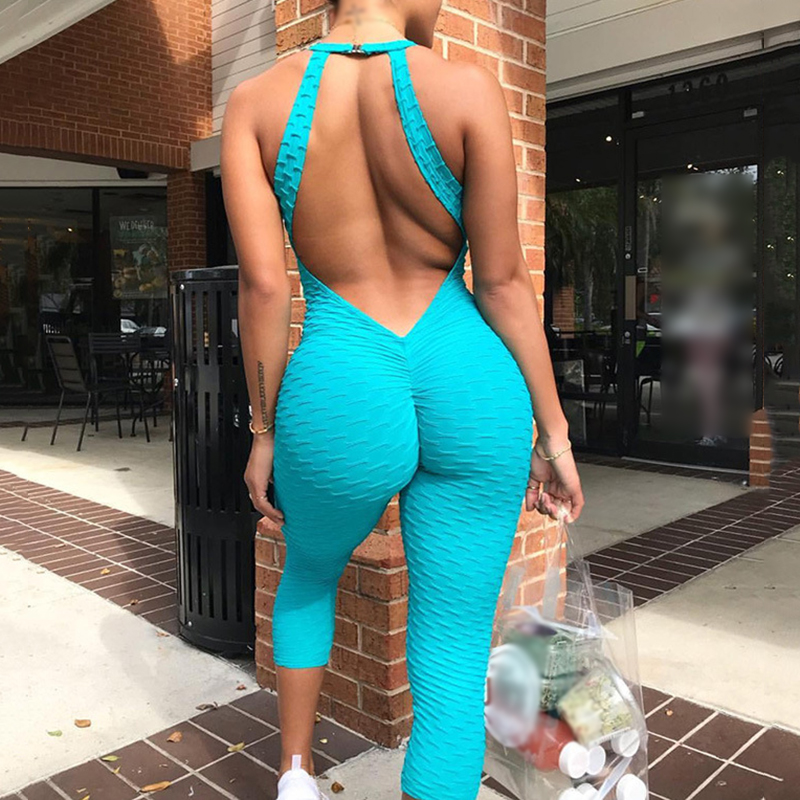 backless sexy style bodysuit women High Stretchy Halter Sportwear Jumpsuit bodysuit summer romper