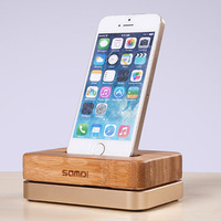 For Apple iPhone7 6S 6 5S 5C 4S Bamboo Luxury Aluminium Metal Stand Mobile Phone Charging Holder Dock Mount