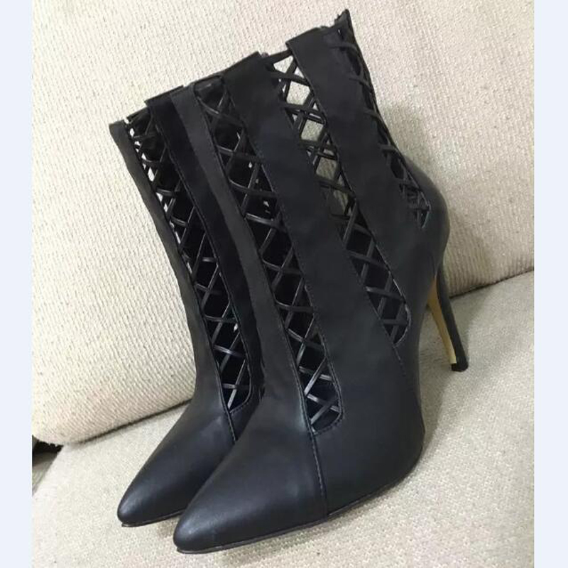 2017 New Arrival Promotion Pointed Toe High Heel Booties Mujer Cut-outs Ankle Boots Fashion Autumn Winter Dress Shoes Women 2017 fashion new red horsehair women ankle boots square high heel short booties autumn zip up martin botines mujer women pumps