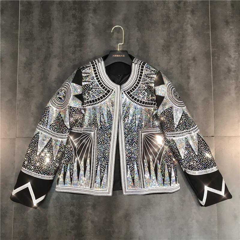 Runway Classic Design High Quality Luxury European Women Slim Black Blazers High Street Lady Stars Sequined Blazer Coat CC252