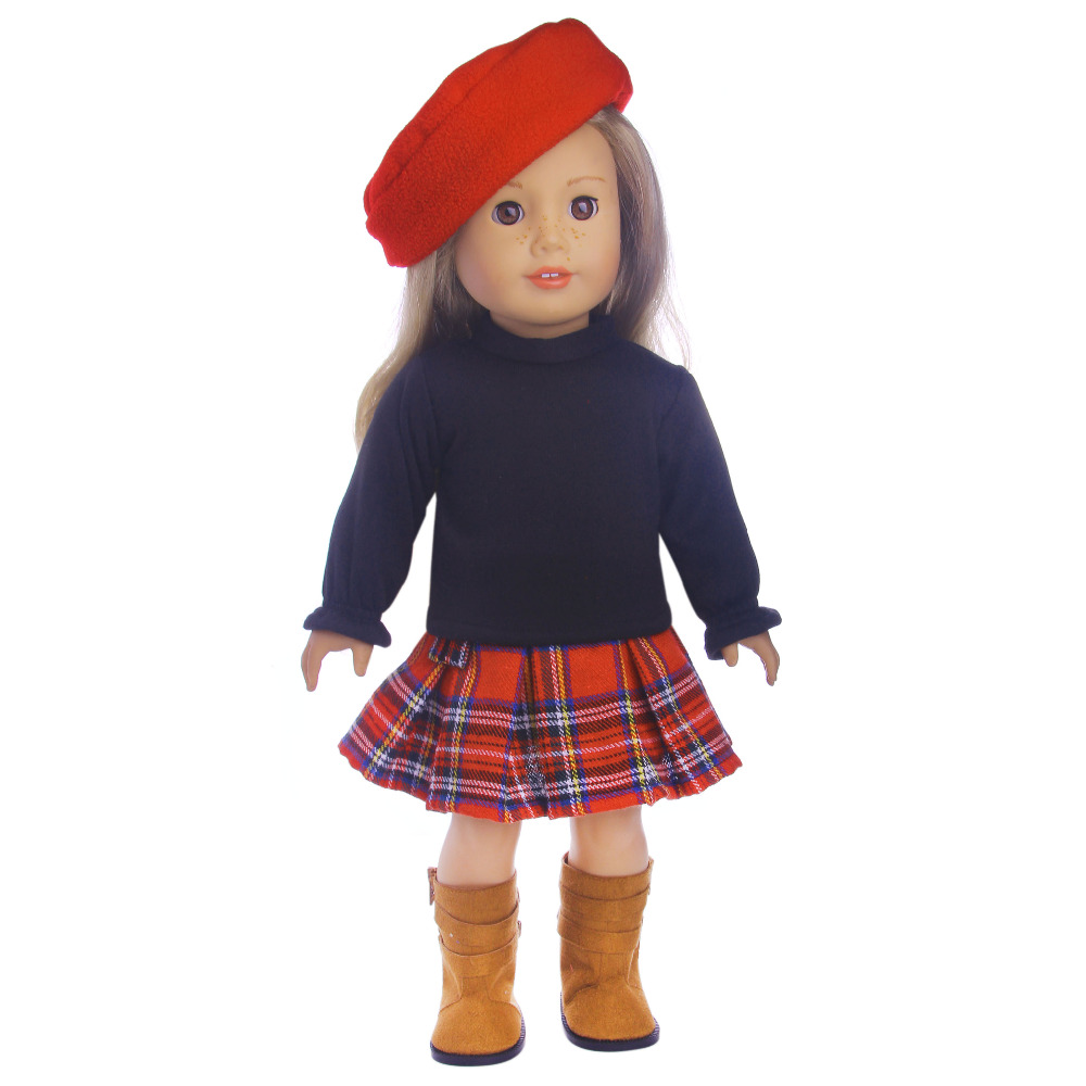 2 sets of fashionable cute sweater small felt hat suit for 18 inch American girl doll for baby gift,Doll accessories