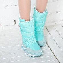 Зимние женские ботинки для Для женщин плоская подошва зимние сапоги Водонепроницаемый Теплая женская зимняя обувь женская обувь; Большие размеры