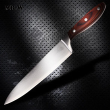 2016 Brand Damascus Knife 8 inch Chef Knife With Wooden Handle Japanese AUS-10 Damascus Stainless Steel Kitchen Meat Knives