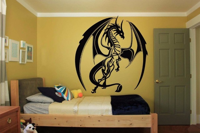 Home Wall Decoration Accessories Tribal Monster Dragon Wall Sticker ...