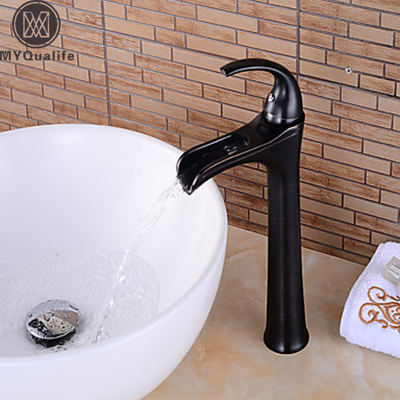 Countertop Waterfall Basin Faucet Tap Deck Mounted One Handle Lavatory Washing Mixer Faucets with Hot and Cold Water new bathroom wash basin sink faucet waterfall flow lavatory hot cold washing tap tree629