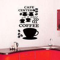 Centro Decalque Vinil Autocolante Decalques Da Parede do café Café Xícara de Feijão Decoração Da Sua Casa