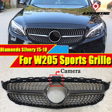 Diamonds grille grill Sports W205 ABS Silver With camera C class C180 C200 C230 C250 C280 C300 Front Grills without sign 2015-18