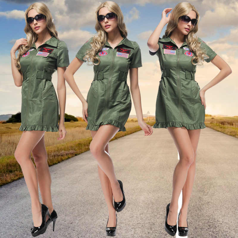 Adult Women Halloween Costumes Aviator Costume Carnival Cosplay Party  Uniforms Temptation Stage Performance Cosplay Clothing