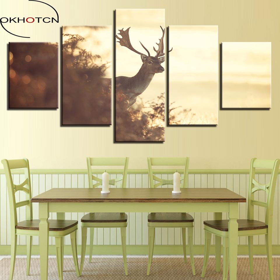 OKHOTCN Framed Canvas Wall Art Poster HD Print Living Room 5 Pieces ...
