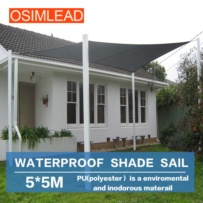 free shipping OSIMLEAD 5*5 m sun shade sail SQUARE CANOPY COVER - OUTDOOR PATIO AWNING - 16.5' *16.5' yp80100 80x100cm 80x200cm 80x300cm clear window awning diy overhead door canopy decorator patio cover