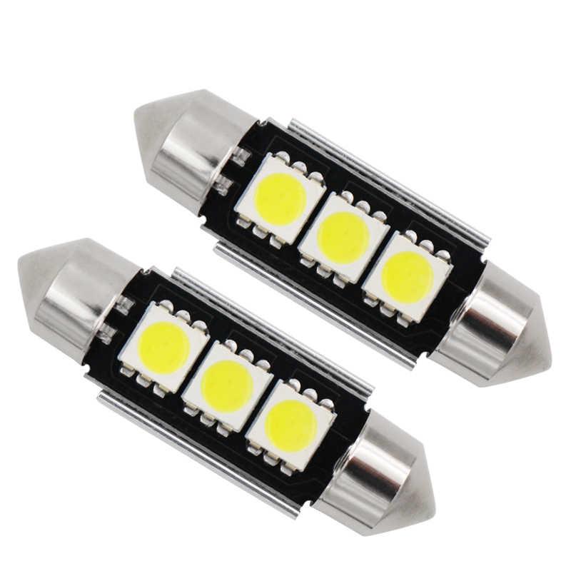 36 ミリメートル 39 ミリメートル C10W C5W 3SMD 3 SMD 5050 LED CANBUS 花綱電球車のライセンスプレートライト自動ハウジングインテリアドームランプホワイト Dc 12 ボルト