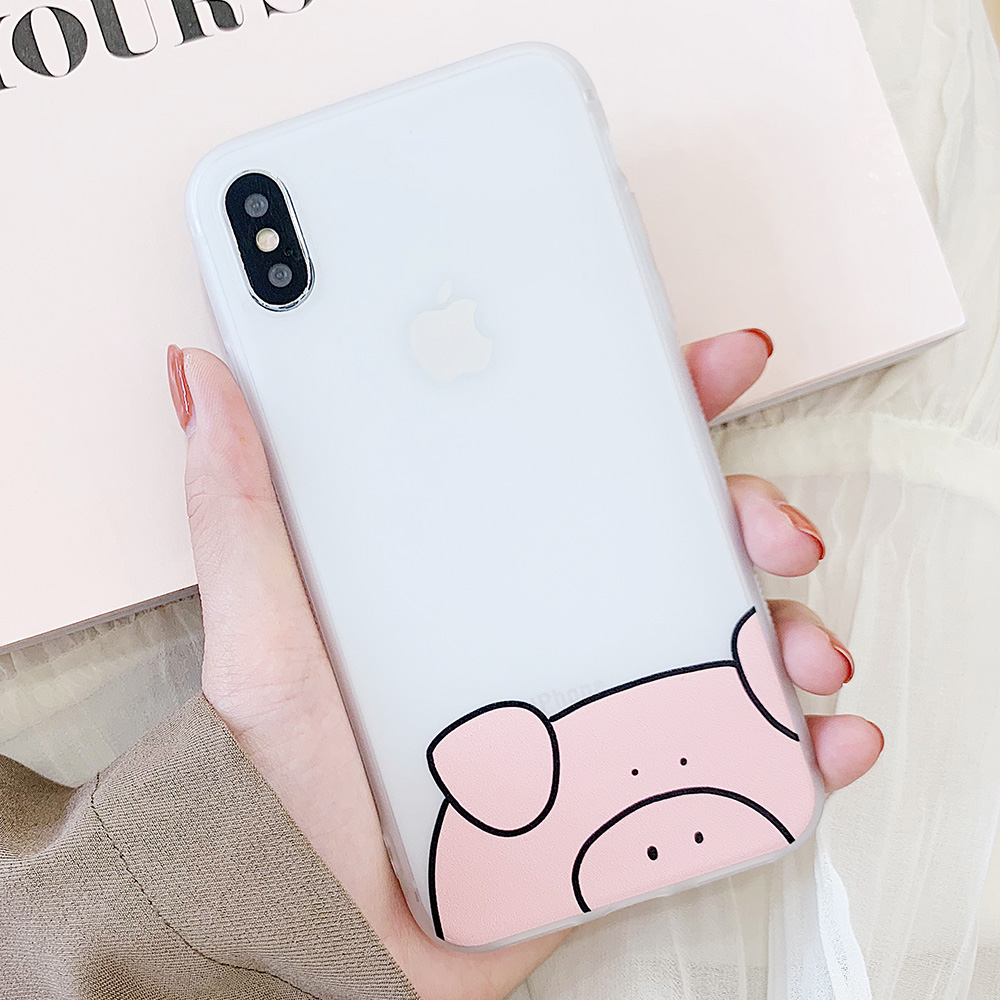 KIPX1100_10_JONSNOW Matte Case For iPhone 7 Plus 8 6 6S 6 Plus X XR XS Max Lovely Pig Baby Pattern Translucent Soft Silicone Cover Cases