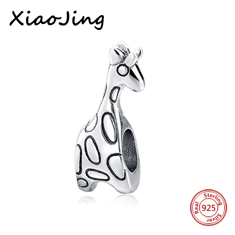 100 925 Sterling Silver charms diy cute animal giraffe Beads Fit authentic pandora Bracelets Pendant Jewelry making women Gift in Beads from Jewelry Accessories