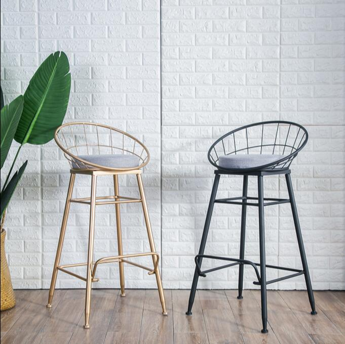 Iron bar chair gold household high stool modern dining chair metal iron wire bar chair in Storage Holders Racks from Home Garden