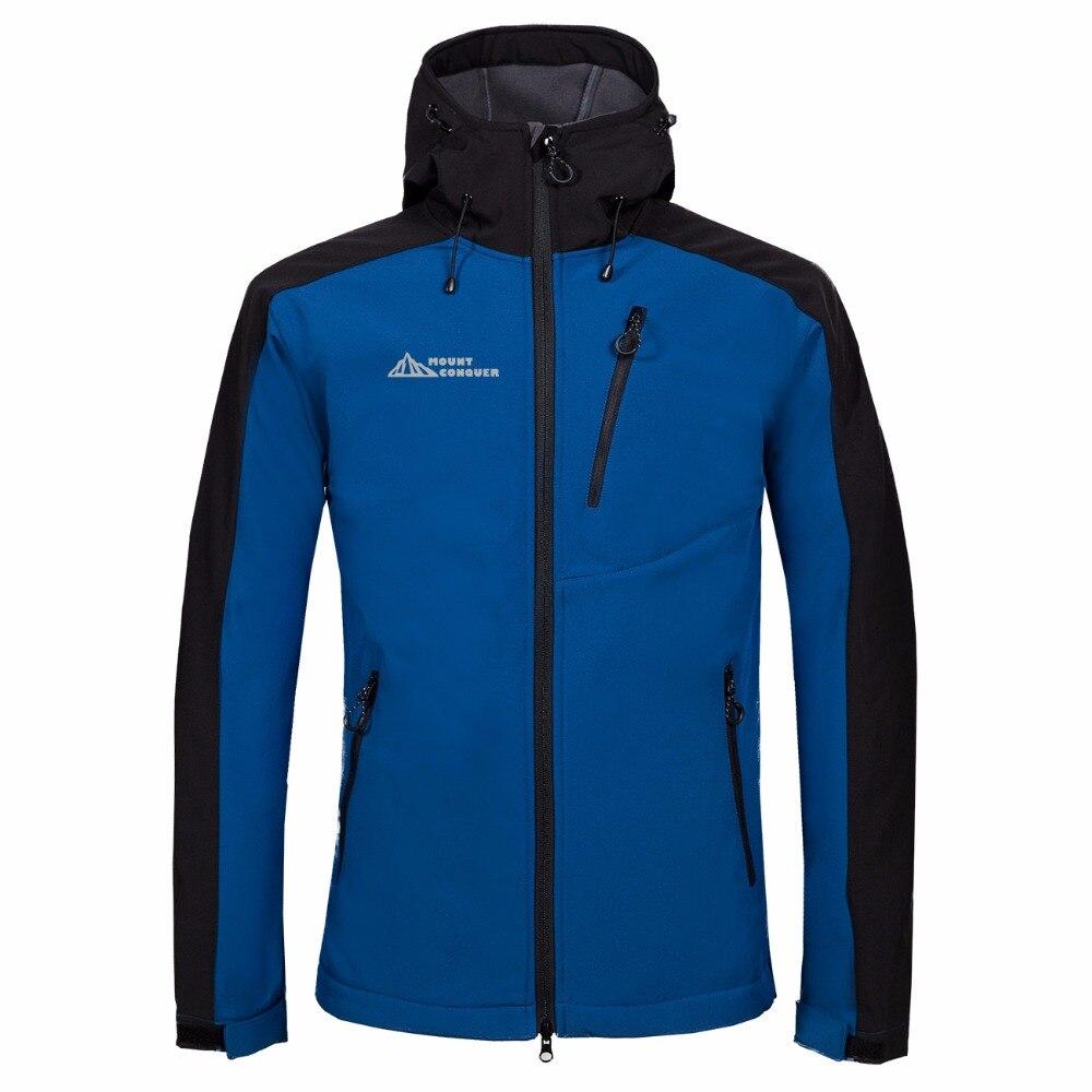 MOUNT CONQUER Softshell Fleece Men Hiking Jacket Outdoor Sport Wear Breathable Hard-wearing Climbing Windproof Coat