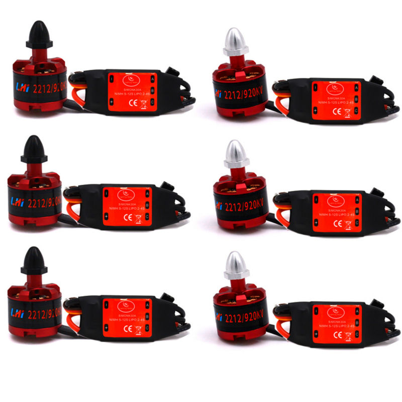6x LHI 2212 920KV Brushless Motor + 6x 30A SimonK ESC Quad Multirotor X525 F450 4x emax mt2213 935kv 2212 brushless motor for dji f450 x525 quadcopter multirotor