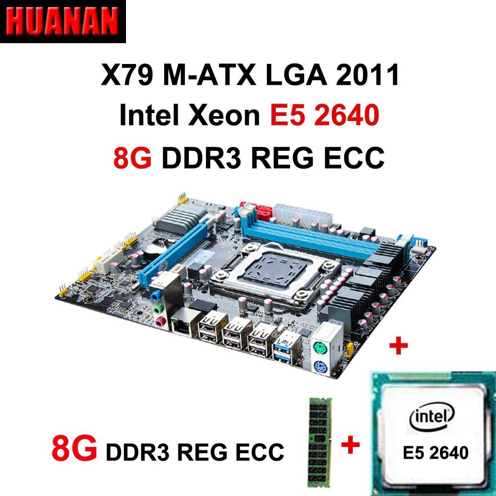 HUANAN X79 motherboard CPU RAM combos X79 LGA 2011 motherboard CPU Xeon E5 2640 RAM 8G DDR3 REG ECC support 2*8G at the most lga 2011 x79 series motherboard soldering cpu socket r with tin balls