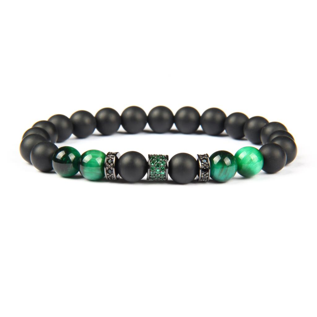 Ailatu New Green Blue Cz Beaded Luxury Men Bracelet with Natural Tiger Eye and Matte Onyx