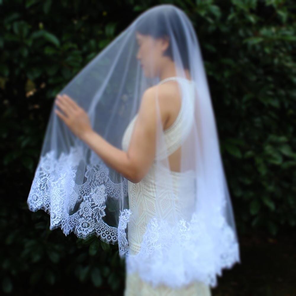 High Quality Chantilly Lace Trim Short Wedding Veil Delicate Bridal Veil WITHOUT Comb Velos De Novia Wedding Accessories