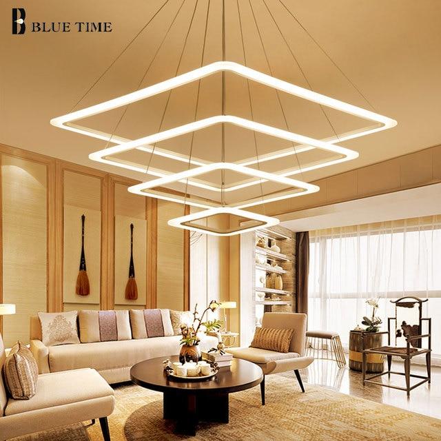 40 60 80 cm cuadrado Anillos LED Lámparas colgantes para sala ...