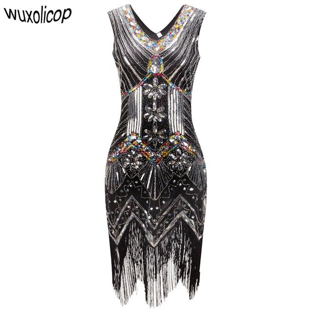 1920 s Great Gatsby Kleid Pailletten Perlen V-ausschnitt Quaste Flapper  Kleid Robe Vintage Schwarz 1380729873