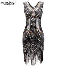 1920s sukienka w stylu wielki gatsby naszycia z cekinów V Neck Tassel sukienka flapper Robe Vintage czarna strona długa letnia sukienka kobiety Vestido
