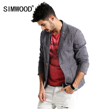 SIMWOOD 2018 nueva otoño Casual Blazers hombres moda chaqueta delgada de  lino y algodón hombres trajes marca ropa XZ6116 b765b960f93