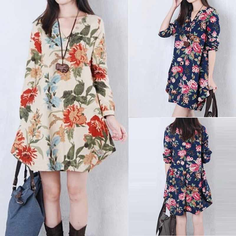 f0a6466109001 Women Floral Pattern Pregnant Dress Cotton Linen Casual Loose Long Sleeve  V-neck Dresses For Female Spring Autumn Clothing