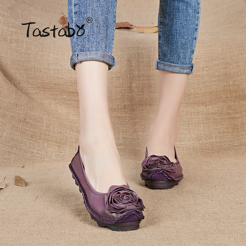 Tastabo Plus Size Shoe Woman Flat Genuine Leather Women Brand Casual Shoes Loafers Fashion Flower Flats Moccasins Ladies Shoe shoulder cut plus size flower blouse