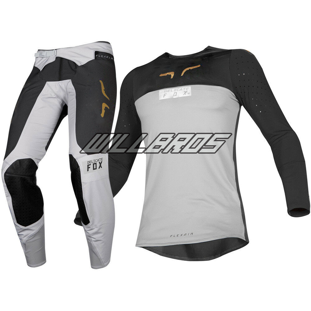 2019 NAUGHTY FOX Grey FLEXAIR ROYL Jersey Pant Combo MX ATV Bike Riding Motocross Kit Combo Gear Set