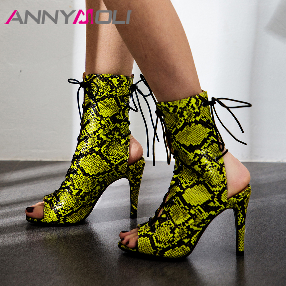 ANNYMOLI Women Sandals Summer Gladiator Shoes Snake Print Thin High Heels Shoes Leopard Lace Up Peep Toe Sandals Ladies Size 43