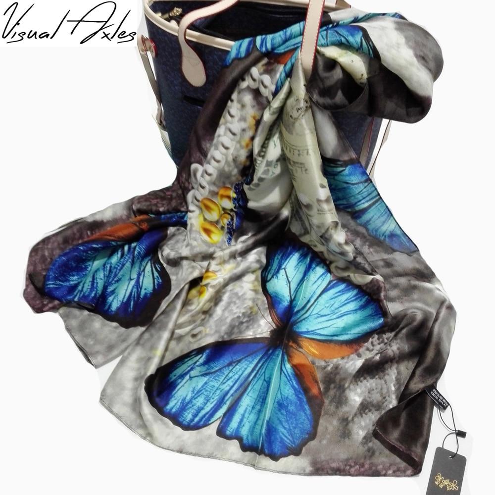 100% QualitäT [visuelle Achsen] 2016 Marke Schals Bunte Schmetterling Print Silk Schal Frauen Schal Stola Angenehm Zu Schmecken