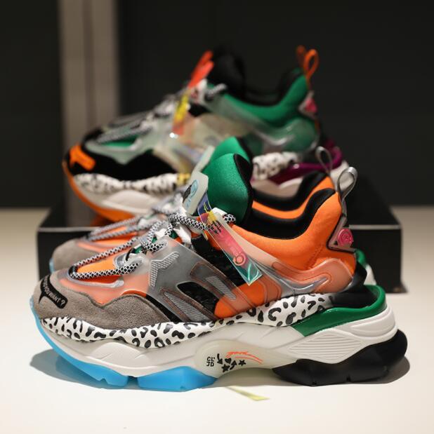 Ayakk.'ten Vulkanize Kadın Ayakkabıları'de Yüksek Kaliteli Kadın Sneakers Ayakkabı Kadın düz ayakkabı vulkanize ayakkabı Deri beyaz ayakkabı 2019 Yeni Kalın Tabanlı Renk Eşleştirme N23'da  Grup 1