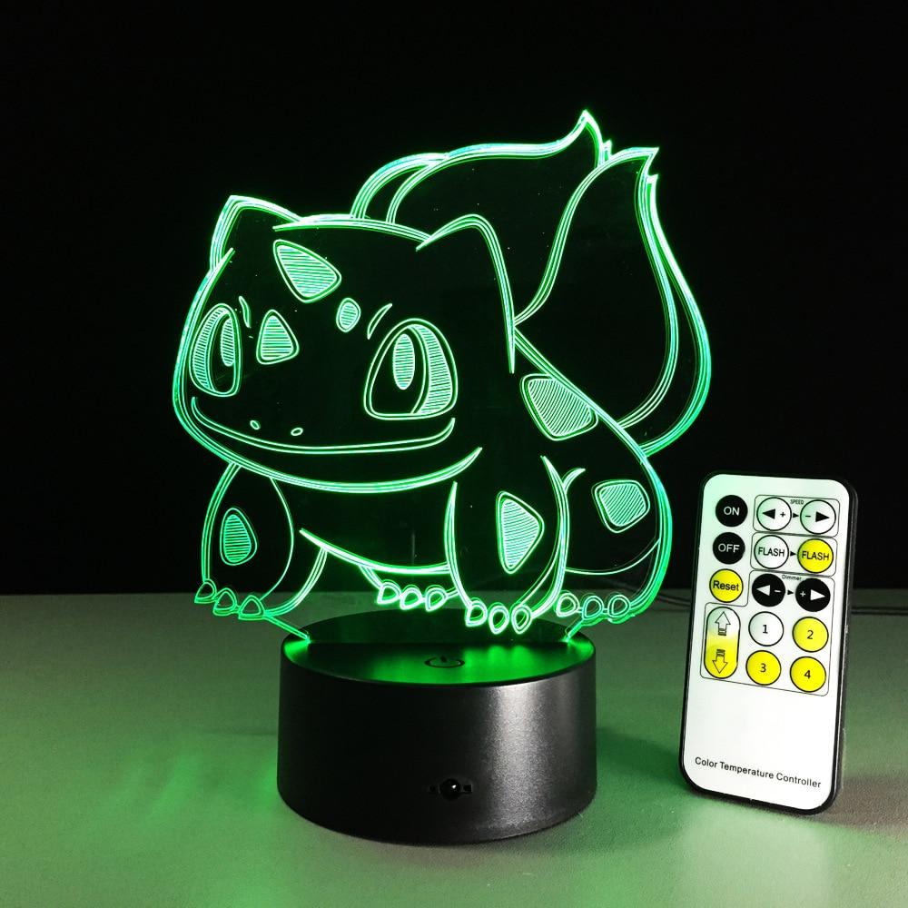 3D Cartoon USB 3D Lamp Pokeball Bulbasaur Pokemon Animal Frog Seeds LED 3D Night Light Colorful Table Baby Kid Toy Gift