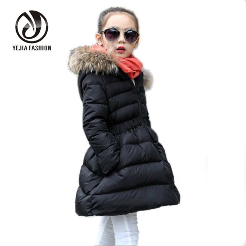 Yejia Fashion 2016 Winter Fur Collar Hooded Girl Long Parkas Black Red Thick Warm Padded Coat