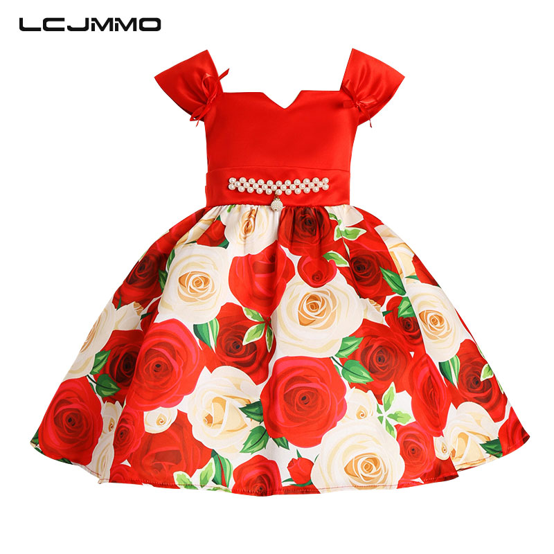 LCJMMO Girl Party Dress 2017 Summer Style Ball Gown Girls Dresses Kids Sleeveless Printing Rose Princess Dress Children Clothes