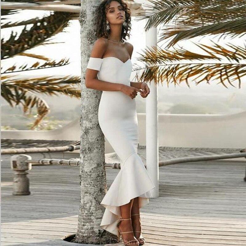 D'honneur 2018 Satin Formelle De Sirène Longue Col V Mode Ruches Demoiselle Haut Retour Bas Sexy Robe Sheer Blanc Profond q7SIvw
