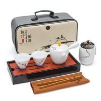 2017 Jingdezhen hand painted celadon painted gold side flower pottery Kung Fu tea bowl set tea gift box