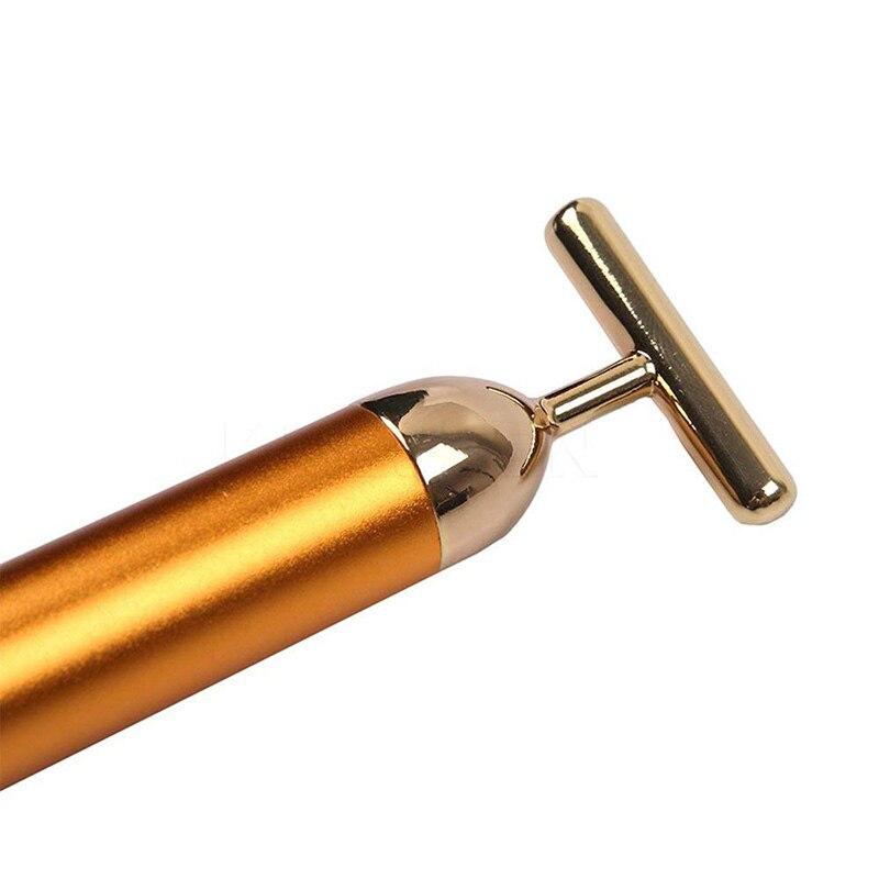 24k золото Вибрация для похудения лица красота бар Пульс Укрепляющий роликовый массажер для лица Подтяжка кожи палочка, разглаживающая морщины
